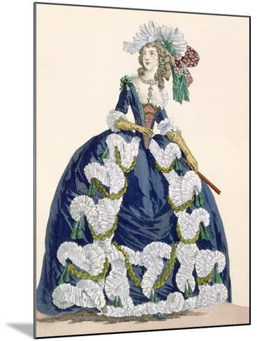 Elaborate Royal Court Dress in Navy Blue with Luxuriant White Frill Design-Augustin De Saint-aubin-Mounted Giclee Print