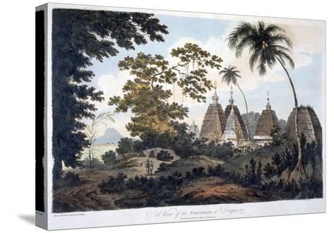 Pagodas at Deogur, 1787 (Aquatint)-William Hodges-Stretched Canvas Print
