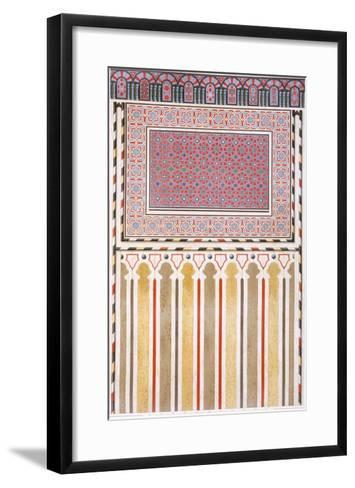 Cairo: Decoration of the El Bordeyny Mosque: Geometric Patterns of the Mosaic of the Mihrab-Emile Prisse d'Avennes-Framed Art Print