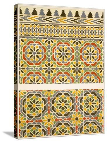 Geometric Ceramic (Faience) Decoration from the Mosque of Cheykhoun, 19th Century (Print)-Emile Prisse d'Avennes-Stretched Canvas Print