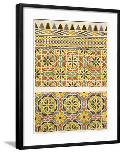 Geometric Ceramic (Faience) Decoration from the Mosque of Cheykhoun, 19th Century (Print)-Emile Prisse d'Avennes-Framed Art Print