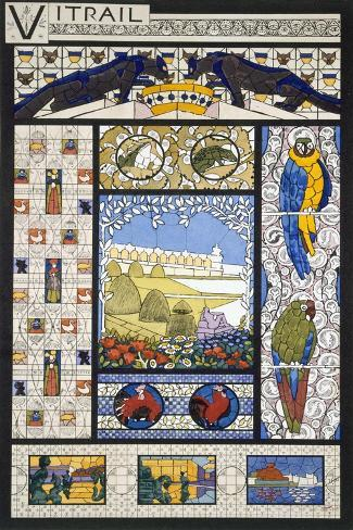 Stained Glass Window Designs, from 'Decorative Sketches', C.1895 (Colour Litho)-Rene Binet-Stretched Canvas Print