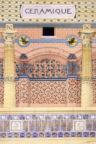 Ceramics: Designs for Tiled Wall Schemes, from 'Decorative Sketches', C.1895 (Colour Litho)-Rene Binet-Stretched Canvas Print