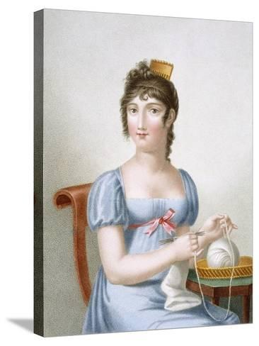 The Knitter, Engraved by Duthe, C.1816 (Coloured Engraving)-Madame G. Busset-Dubruste-Stretched Canvas Print