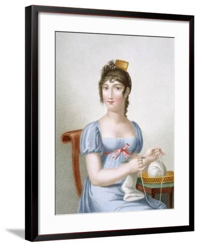 The Knitter, Engraved by Duthe, C.1816 (Coloured Engraving)-Madame G. Busset-Dubruste-Framed Art Print