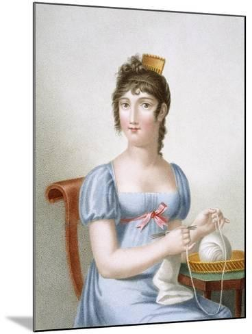 The Knitter, Engraved by Duthe, C.1816 (Coloured Engraving)-Madame G. Busset-Dubruste-Mounted Giclee Print