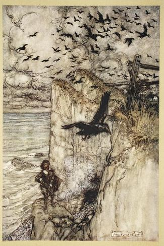 ..Russet-Pated Choughs, Many in Sort, Rising and Cawing at the Gun's Report-Arthur Rackham-Stretched Canvas Print