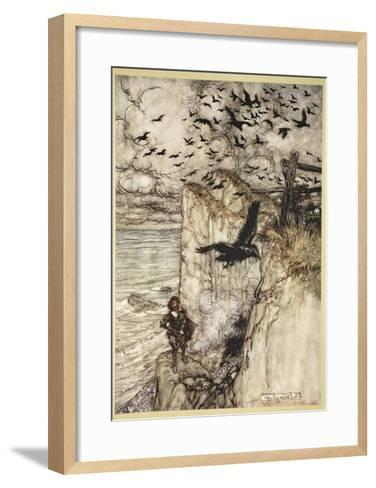 ..Russet-Pated Choughs, Many in Sort, Rising and Cawing at the Gun's Report-Arthur Rackham-Framed Art Print