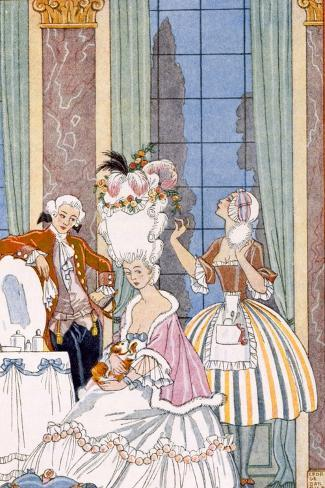 France in the 18th Century, from 'The Art of Perfume', Pub. 1912 (Pochoir Print)-Georges Barbier-Stretched Canvas Print