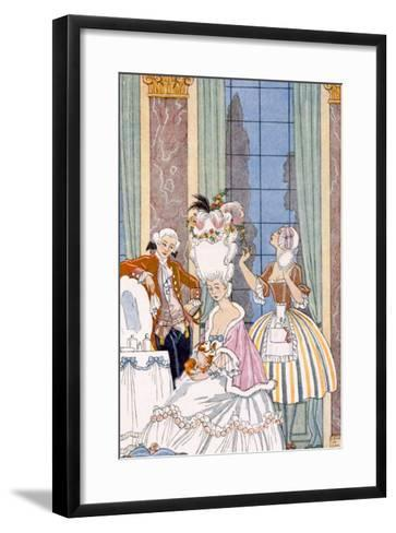 France in the 18th Century, from 'The Art of Perfume', Pub. 1912 (Pochoir Print)-Georges Barbier-Framed Art Print