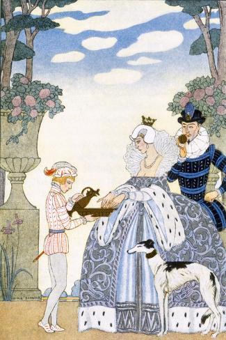 Elizabethan England, from 'The Art of Perfume', Pub. 1912 (Pochoir Print)-Georges Barbier-Stretched Canvas Print