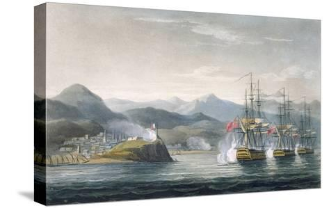 The Squadron under the Command of Sir J. Brisbane Attacking Fort Maurigio, on 12th April, 1814-Thomas Whitcombe-Stretched Canvas Print