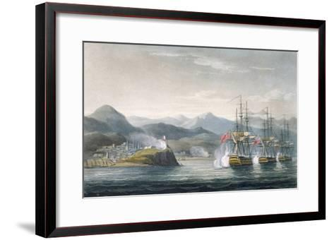 The Squadron under the Command of Sir J. Brisbane Attacking Fort Maurigio, on 12th April, 1814-Thomas Whitcombe-Framed Art Print
