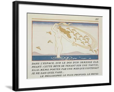 Woman Wading Through Water, Illustration from 'Les Mythes' by Paul Valery (1871-1945)-Georges Barbier-Framed Art Print