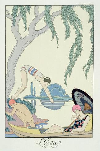Water, 1925 (Pochoir Print)-Georges Barbier-Stretched Canvas Print