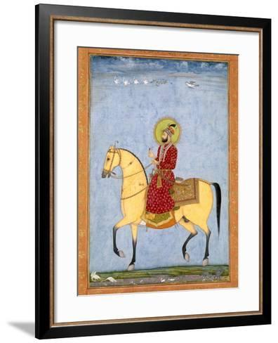 The Mughal Emperor Farrukhsiyar(1683-1719) (R.1713-19), from the Large Clive Album-Mughal-Framed Art Print