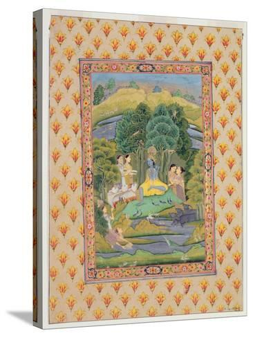 Krishna and the Gopis (Gouache on Paper)-Indian-Stretched Canvas Print