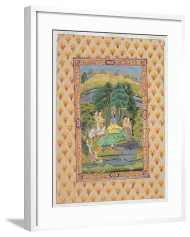 Krishna and the Gopis (Gouache on Paper)-Indian-Framed Art Print