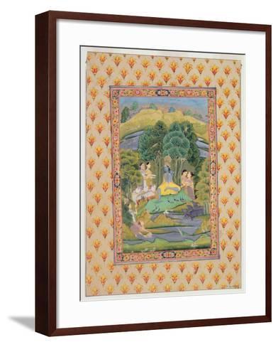 Krishna and the Gopis (Gouache on Paper)-Indian-Framed Art Print