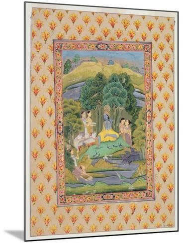 Krishna and the Gopis (Gouache on Paper)-Indian-Mounted Giclee Print