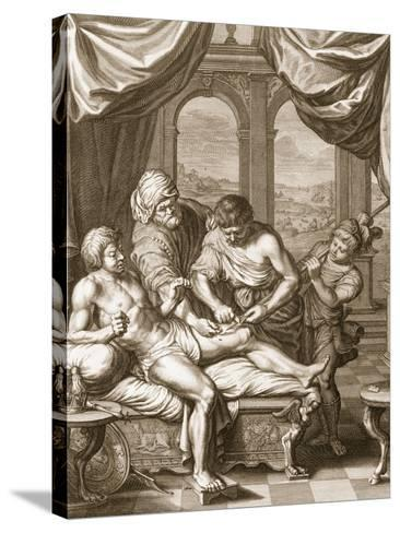 Telephus Cured by the Rust of the Same Spear Which Wounded Him, 1731 (Engraving)-Bernard Picart-Stretched Canvas Print