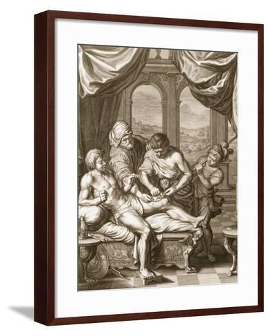 Telephus Cured by the Rust of the Same Spear Which Wounded Him, 1731 (Engraving)-Bernard Picart-Framed Art Print