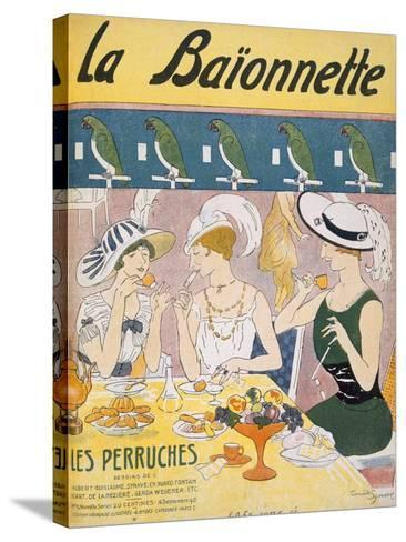 Cover Illustration from 'La Baionnette' Magazine, 1914-18 (Colour Litho)-French-Stretched Canvas Print