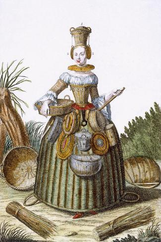 The Basket Weaver's Costume (Coloured Engraving)-Martin Engelbrecht-Stretched Canvas Print