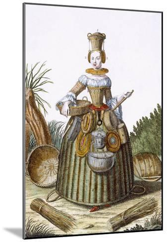 The Basket Weaver's Costume (Coloured Engraving)-Martin Engelbrecht-Mounted Giclee Print