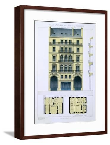 Town House of Italians in Paris, from 'Town and Country Houses Based on the Modern Houses of Paris'-Leon Isabey-Framed Art Print