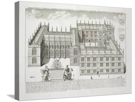 Bodleian Library, Oxford, from 'Oxonia Illustrata', Published 1675 (Engraving)-David Loggan-Stretched Canvas Print