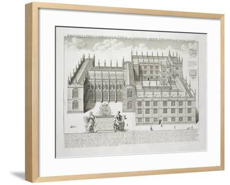 Bodleian Library, Oxford, from 'Oxonia Illustrata', Published 1675 (Engraving)-David Loggan-Framed Art Print