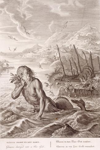 Glaucus Turned into a Sea-God, 1731 (Engraving)-Bernard Picart-Stretched Canvas Print