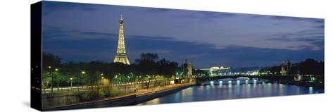 France, Paris, Eiffel Tower , Seine River--Stretched Canvas Print