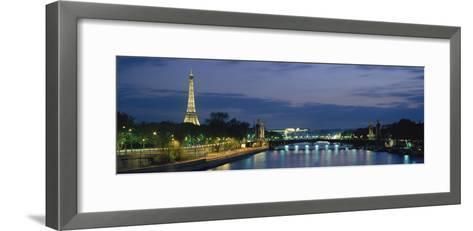 France, Paris, Eiffel Tower , Seine River--Framed Art Print