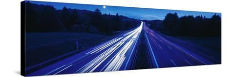 Autobahn with Traffic Near Irschenberg Germany--Stretched Canvas Print
