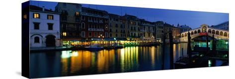 Grand Canal and Rialto Bridge Venice Italy--Stretched Canvas Print