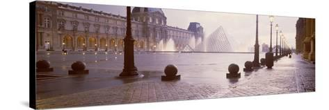 Street Lights Lit Up at Dawn, Louvre Pyramid, Musee Du Louvre, Paris, France--Stretched Canvas Print