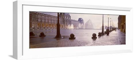 Street Lights Lit Up at Dawn, Louvre Pyramid, Musee Du Louvre, Paris, France--Framed Art Print