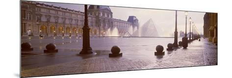 Street Lights Lit Up at Dawn, Louvre Pyramid, Musee Du Louvre, Paris, France--Mounted Photographic Print