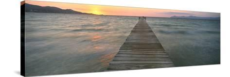 Pier at Sunset in the Sea, Alcudia, Majorca, Spain--Stretched Canvas Print