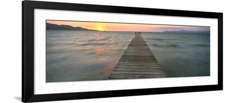 Pier at Sunset in the Sea, Alcudia, Majorca, Spain--Framed Art Print