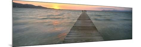 Pier at Sunset in the Sea, Alcudia, Majorca, Spain--Mounted Photographic Print