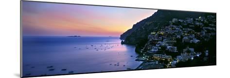 Buildings Lit Up at Night, Positano, Amalfi, Amalfi Coast, Campania, Italy--Mounted Photographic Print