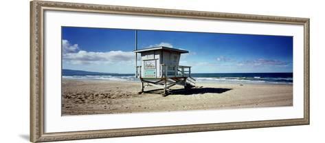 Lifeguard Hut on the Beach, 8th Street Lifeguard Station, Manhattan Beach, Los Angeles County, C...--Framed Art Print