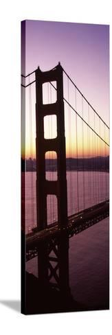 Suspension Bridge at Sunrise, Golden Gate Bridge, San Francisco Bay, San Francisco, California, USA--Stretched Canvas Print