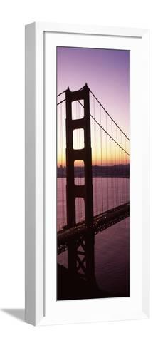 Suspension Bridge at Sunrise, Golden Gate Bridge, San Francisco Bay, San Francisco, California, USA--Framed Art Print
