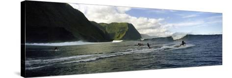Surfers in the Sea, Hawaii, USA--Stretched Canvas Print