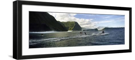 Surfers in the Sea, Hawaii, USA--Framed Art Print