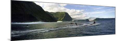 Surfers in the Sea, Hawaii, USA--Mounted Photographic Print